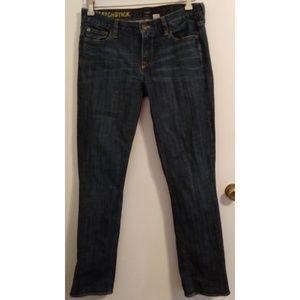 J. Crew Matchstick Jeans Dark Wash Whiskering 30